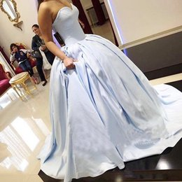Wholesale Teens Sexy Satin - Sweetheart Ball Gown Prom Dresses Long 2018 Satin quinceanera dresses Count Train Lace Up Back Cheap Girls Pageant For Teens