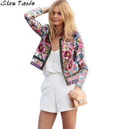 Wholesale Jeans Jackets Wholesale - Wholesale- Bomber Jacket Multicolor Floral Printing Jeans Jacket Women Short Jacket Long Sleeve Outwear Cardigan Feminino #2815