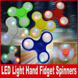 Wholesale Fine Light - LED Light Hand Spinners Fidget Spinner Top Quality Triangle Luminous Hand Spinner Colorful Decompression Toys Cheap And Fine