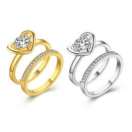 Wholesale Fashion K Gold Ring - Fashion K Gold Jewelry Women's Crystal Rhinestones Rings Finger Rings US Sise 6 7 8