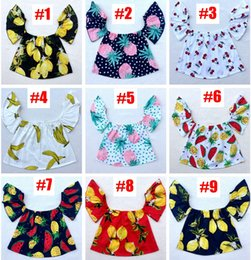 Wholesale Tank Tops Ruffles - summer baby flutter sleeve top girls tank tops toddler floral vest tshirt infant flower print clothes ins cotton ruffle shirt wholesale