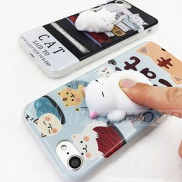 Wholesale 3D Cat Squishy Phone Bag Case for IPhone Plus Capa Soft Squeeze Toys Back Cover for Iphone s Plus Stress Relieve Shell