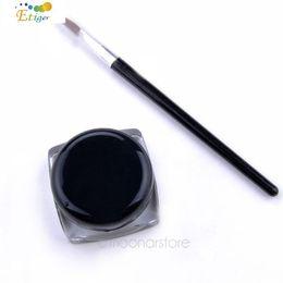 Wholesale Brushes For Gel - Wholesale-Black Waterproof Eye Liner Eyeliner Gel Makeup Cosmetic + Brush Makeup Set professional salon for wedding, parties & home