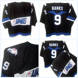 Wholesale Hawk Jerseys - Mighty Ducks Movie Jersey Hawks Adam Banks #9 Men's 100% Stitched Embroidery Logos Throwback Hockey Jerseys Black