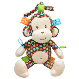 Wholesale Hung Monkeys - Wholesale- New Arrival High Quality Super Soft Cute Pull Appease Monkey Hanging Bell Car Bed Hanging Baby Rattles-BYC107 PT49