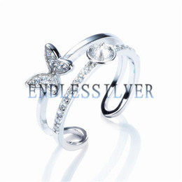 Wholesale Rhodium Plated Silver Ring Blanks - Double Band Ring Settings Blank Base Butterfly 925 Sterling Silver Zircon DIY Jewellery Findings for Pearl Party