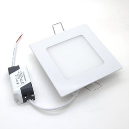 Wholesale Thin Light Bulbs - Wholesale- Ultra Thin LED Square Downlight Bulb Aluminum Panel 3W 6W 9W 12W 15W 18W Ceiling Recessed Lights AC85-265V Lamp Indoor Lighting