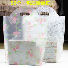Wholesale Small Clear Plastic Jewelry Bags - 100pcs 20*25cm Small Rose Flower Frosted Plastic Bag , Shopping Jewelry Packaging Plastic Christmas Wedding Transparent Gift Bags thicken ba