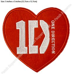 """Wholesale One Direction Music - 5"""" 1D HEART ONE DIRECTION valentine day Music Band Iron On Sew On Patch LARGE Tshirt TRANSFER MOTIF APPLIQUE Rock Punk Badge"""