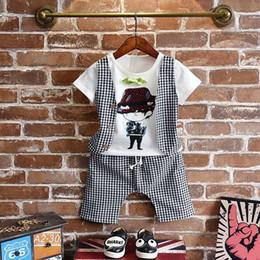 Wholesale Toddler T Shirt Vest - Korean Cartoon New Summer baby boys vest short T shirt Tops shorts pants 2pcs set Children Outfit Boy Suit Infant best Toddler Clothing A355