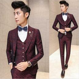 chaleco coreano hombres Rebajas Venta al por mayor- Nueva moda de la marca caliente 2016 de los hombres de moda casual de alta calidad tejido jacquard traje masculino delgado corea estilo blazer chaleco y pantalones