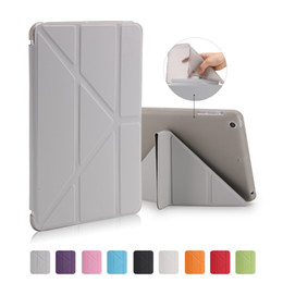 Wholesale Ipad Transformer - Wholesale-Smart Case For iPad Mini 2 3 Case 5 Shapes Transformer Folding Cross With Automatic Sleep & Wake-Up Function Cover