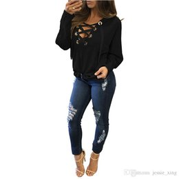 Wholesale Ladies Warm Shirts - Spring Lace Up Hoodies shirt Women Tops V Neck Ladies Autumn Warm Hoody Black Rivet Hole Long Sleeve Casual Pullover Jumper