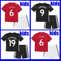 Wholesale United Soccer - 17 18 LUKAKU Man utd kids soccer jersey uniform POGBA RASHFORD jerseys 2018 MKHITARYAN ibrahimovic football shirt boys youth KITS united