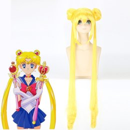 Wholesale Sailor Moon Wigs - Z&F Pretty Soldier Sailor Moon Usagi Tsukino Long Cosplay Wig Yellow Color Bunches Cosplay Wig Tails Lolita Halloween Christmas Costume