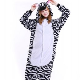 Wholesale Woman Bear Costume - Women Animal Onesies Zebra Cartoon Cosplay Costume Leopard Bear Pajama Sets for Adult Flannel Onesie Unisex Sleepwear MX-003