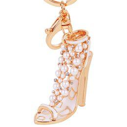 Wholesale Women Fancy Bags - Gifts Fancy Metal High Heel Keychains Rhinestone Shoes Keyring Charm Women Handbag Key Holder Girl Bag Pendant Jewelry