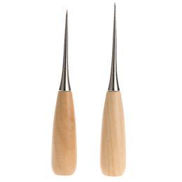 Wholesale Craft Punches Set - 2pcs set Professional Cloth Awl Sewing Tool Hole Punching Leather Wood Handle Awl Craft Stitching Leather Tools