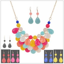 Wholesale Exaggerate Resin Necklace - 2017 Exaggerated jewelry lovely candy color drop jewelry set alloy brief necklace Pendant Choker Necklace Earrings Set