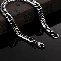 Pulsera hombre serpiente acero inoxidable. online-20cm Mens Women 316L Silver Stainless Steel 7mm Interlock Bone Link Pulsera de cadena de eslabones