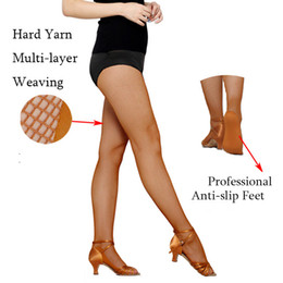 Wholesale Professional Ballroom Dance - Special for the competition Women Professional Fishnet Tights For Ballroom&Latin Dance Hard Yarn Elastic Latin Dance stockings with heel