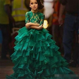 Wholesale Junior Ball Gowns Red - Junior Pageant Dresses 2016 Free Shipping Robe Petite Fille D'Honneur Ball Gown Emerald Green Flower Girl Dresses with 1 2 Long Sleeves