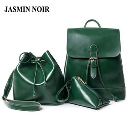 Wholesale Waxed Backpack - Wholesale- Women Wax PU leather Backpacks 3 Pieces Sets Composite Retro Vintage Bucket Crossbody Bag with purse tie Ladies shouder Bag