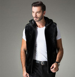 Wholesale Thick Warm Coats Men - Wholesale- 2016 Autumn and winter men's mink coat, Stand collar and hooded men fur vest, High-end men's thick warm winter zipper waistcoat