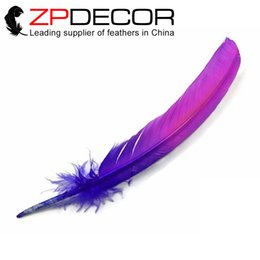 Wholesale Ombre Feathers - ZPDECOR 100pieces lot 12-14inch(30-35cm) 2016 New Arrival Dyed Pink Purple Ombre Turkey Rounds Wing Quill Feather for Angel Wings