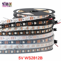 Wholesale Waterproof Black Light Strips - DC5V individually addressable ws2812b led strip light white black PCB 30 60 144 pixels, smart RGB 2812 led tape ribbon waterproof IP67 IP20