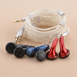 Wholesale Diy Phone Plug - Wholesale DIY high-quality Flat headphones, silver-plated wire production, 3.5mm gold-plated plug, red blue black