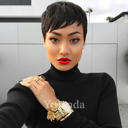 Wholesale Celebrities Human Full Lace Wigs - 2016 none lace celebrity wig Machine made human short wig glueless full lace wigs brazilian hair straight fashionable hair wig