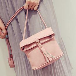 Wholesale Wholesale Trading Handbags - Wholesale- Hanup 2016 Ladies Handbag Tassel Bucket Shoulder Women Bag Lady trade Trends Europe And America Women Messenger Bags