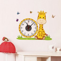 Wholesale Giraffe Lighting - PVC Giraffe Diy Wall Clock Real Walls Sticker Digtal Clocks Home Decoration Colorful Living Room Children Love Bedroom Decorative Wallpaper