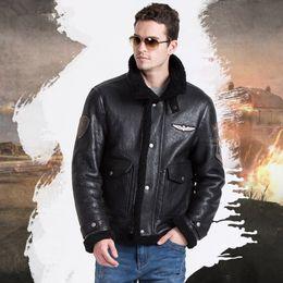 Wholesale B3 Leather Jacket Xl - Real sheepskin fur flight Jacket B3 Male genuine leather overcoat moto and biker natural full pelt fur coat Men's