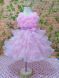 Wholesale Kids Princess Ball Gowns - flowers girl dresses for wedding pink purple bow sleeveless girls princess dress kids ball gown wedding dresses