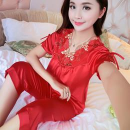 Wholesale hot ladies pajamas - Wholesale- WLK Hot Fashion Women Pajamas Summer 2017 Brand Ladies Satin Pijama Short Sleeve Silk Pajamas Sets Pyjamas Women 7010