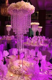 Wholesale Tall Crystal Flower Stands - Free Shipping 80cm Tall Crystal Wedding Centerpiece Table Chandelier Flower Stand Wedding Props
