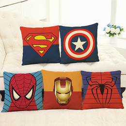 Wholesale Simple Linen Cushion Cover - Linen Pillow Case The Avengers Iron Man Pillowslip Marvel Heroes Spider Man Cushion Cover Home Textiles Simple Fashion 6 5ph A R