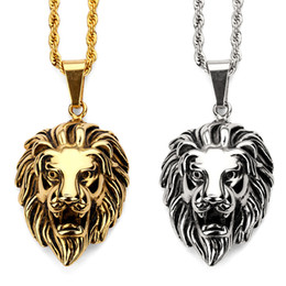 Wholesale Head Piece Chain Jewelry Gold - Fashion Charms Lion Head Vintage Pendant Necklace Steel Gold Silver Chain Hip Hop Jewelry Filling Pieces Men's Women's Gift