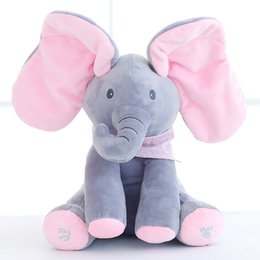 Wholesale Musical Plush Toy - 0801 HANCHENEXP 30cm Musical and Active Pink Gray Elephant Baby Bibs Elephant Mini Bandana Drool Soft Plush Elephant for Babies and Kids