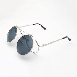 Wholesale Clear Lens Glasses Men - Vintage Men Women Clamshell Sunglasses Round Metal Frame Glasses Steampunk Clamshell lentes Flip Up Clear Lens Pun Sun Glasses