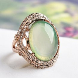 Wholesale Natural Diamonds Jewelry - Natural Green Stone Wedding Rings for women CZ Diamond Jewelry Rose Gold Plated rings female AAA Austria Crystals Anel bijoux S8