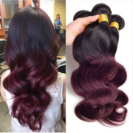 Wholesale Red Black Hair Extensions - Ombre 1b 99j Bundles Body Wave 3pcs lot, Black And Burgundy Brazilian Hair Two Tone 99j Virgin Hair Wine Red Human Hair Extensions