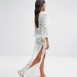Ver la playa del vestido online-Vestido flojo floral flojo de la manga de la llamarada atractiva ver a través del vestido del bordado del cordón de las mujeres Vestido Sundress del vestido del desgaste de la playa del ganchillo del vestido