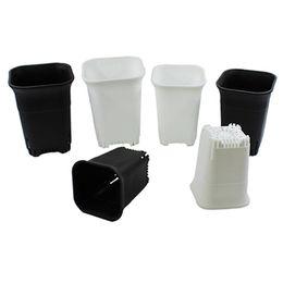 Дышащий квадратный детский бонсай пластиковый черный белый цветочный горшок для внутреннего домашнего стола, прикроватный пол открытый двор, газон или сад посадки от Поставщики комнатные растения бонсай