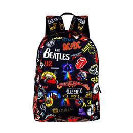 2019 borse di scuola sveglie delle ragazze Rock Band The Beatles / Acdc / Iron Maiden Zaini per ragazzi Ragazze Zaini Zaini per adolescenti Donna Uomo Zaino carino borse di scuola sveglie delle ragazze economici