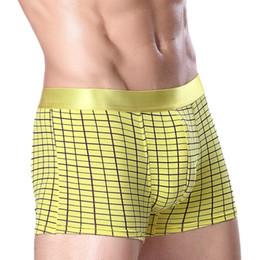 Wholesale Boxer Printing - 100% new men grid printed cotton boxer briefs