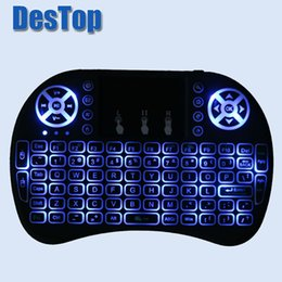 Wholesale Color Changing Mouse - mini Keyboard i8 English Russian 2.4GHz Wireless backlight mini Keyboard 3 color change Touchpad mouse Android TV BOX Mini PC