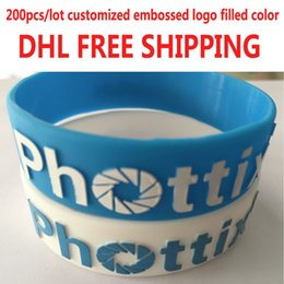 Wholesale Customize Rubber Bracelets - Hot selling 200pcs lot customized silicone bracelets wristbands with embossed logo  test rubber band bangles DHL free shipping